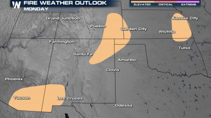 High Fire Danger Across The Plains and Southwest Monday