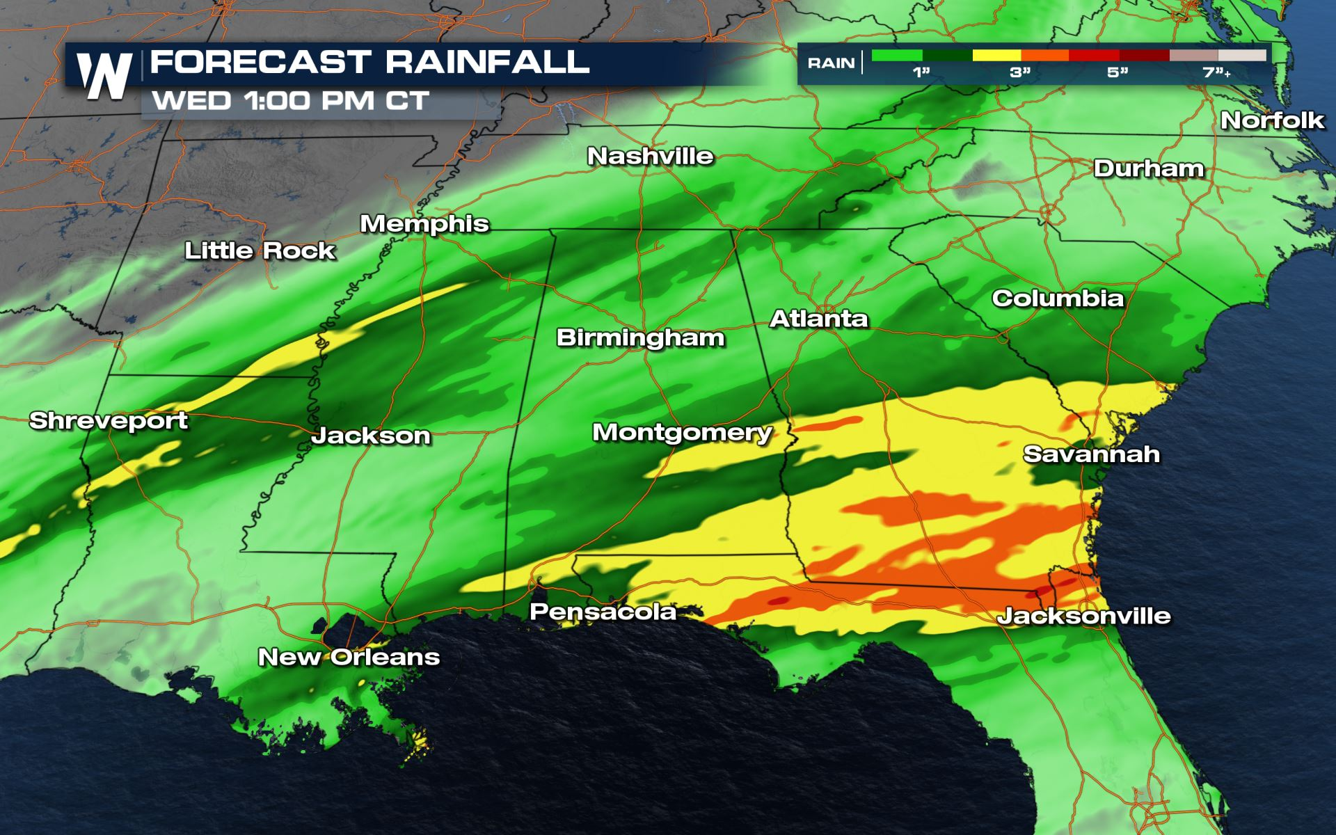 Heavy Rain and Flooding Possible for the South the Next Few Days