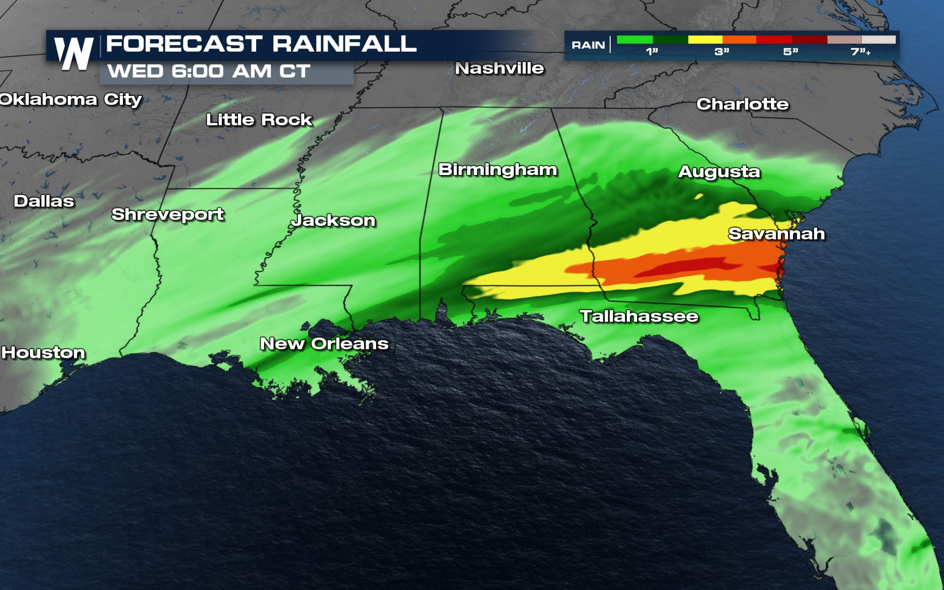 Heavy Rain Brings a Flooding Risk to the Southeast Tuesday and Wednesday
