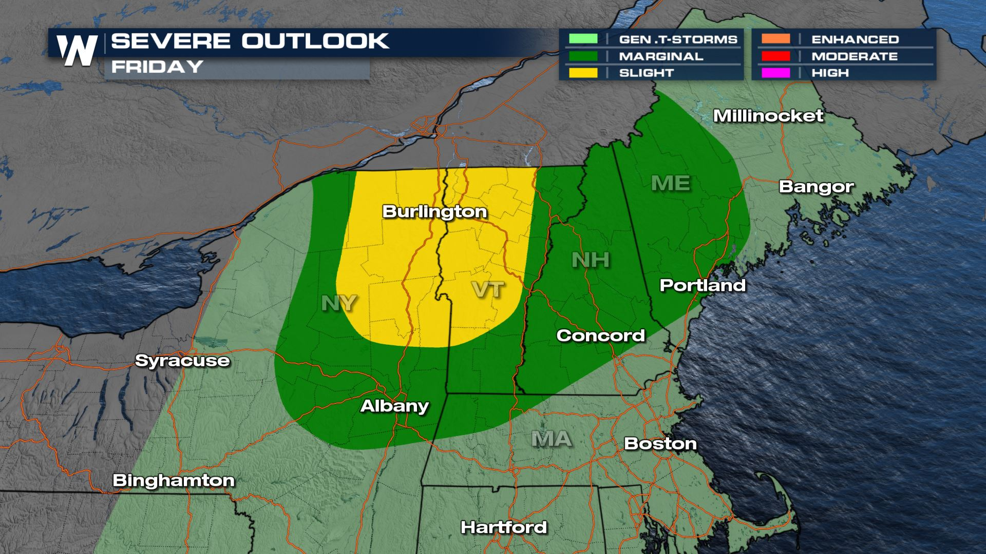 Damaging Wind & Tornado Potential in the Northeast Friday