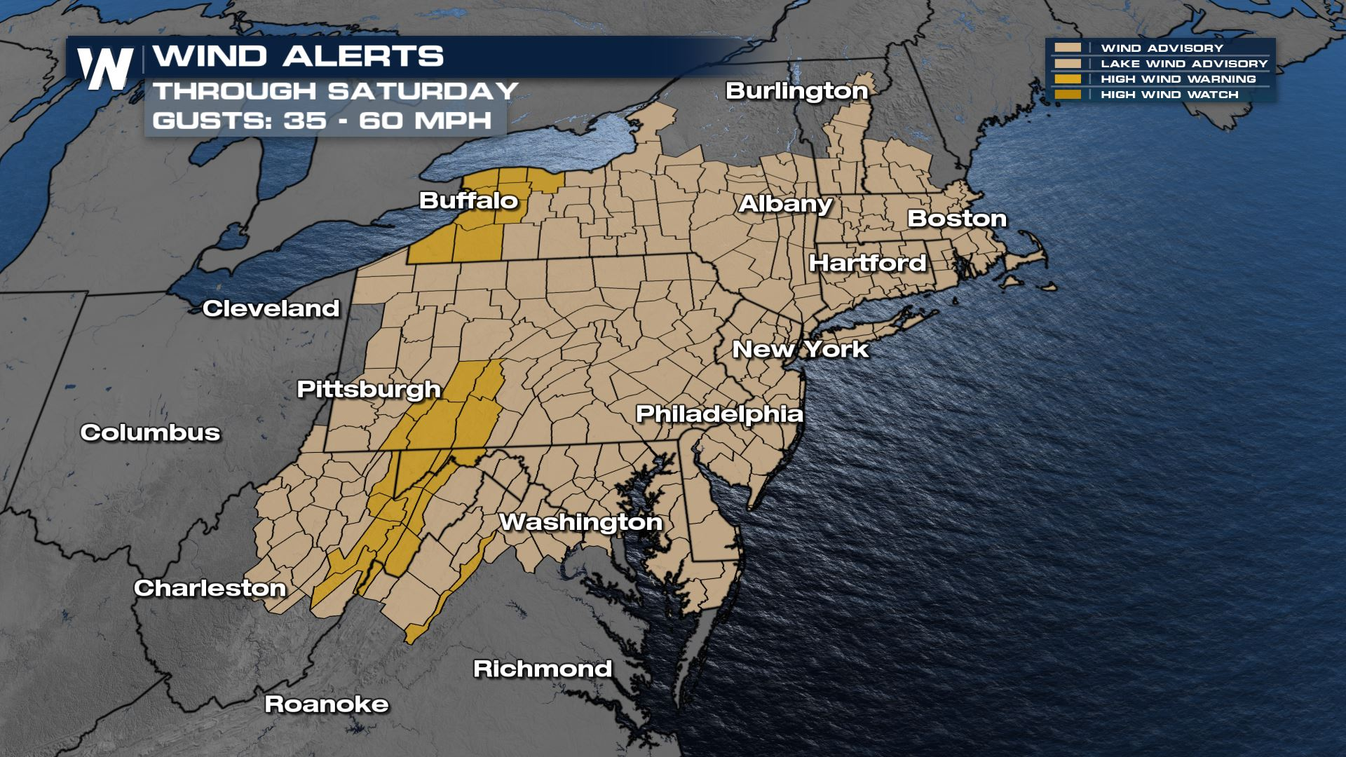 High Winds in the Midwest, Northeast Thursday and Friday