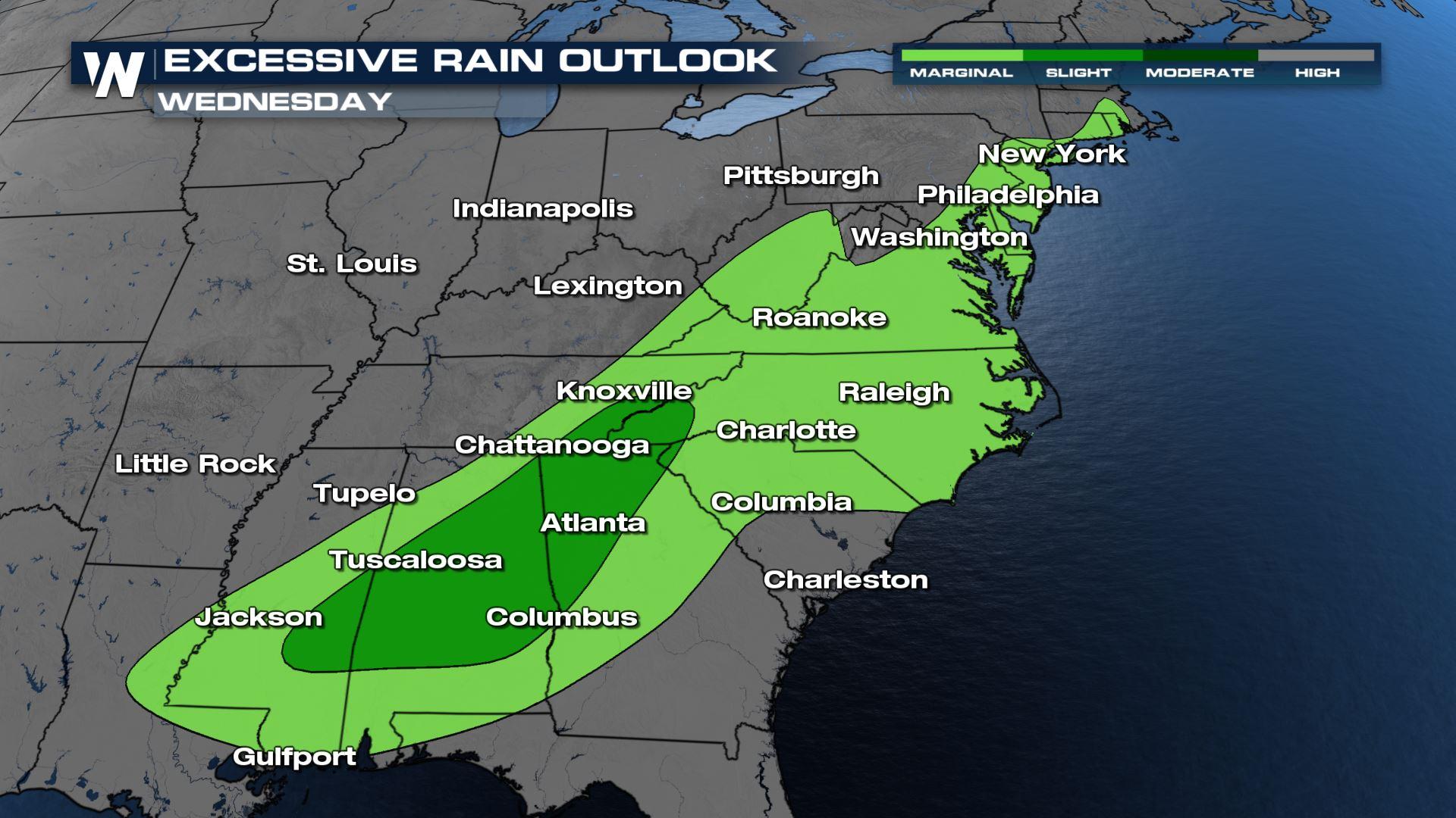 Flood Risk Continues Across the South and Mid-Atlatnic