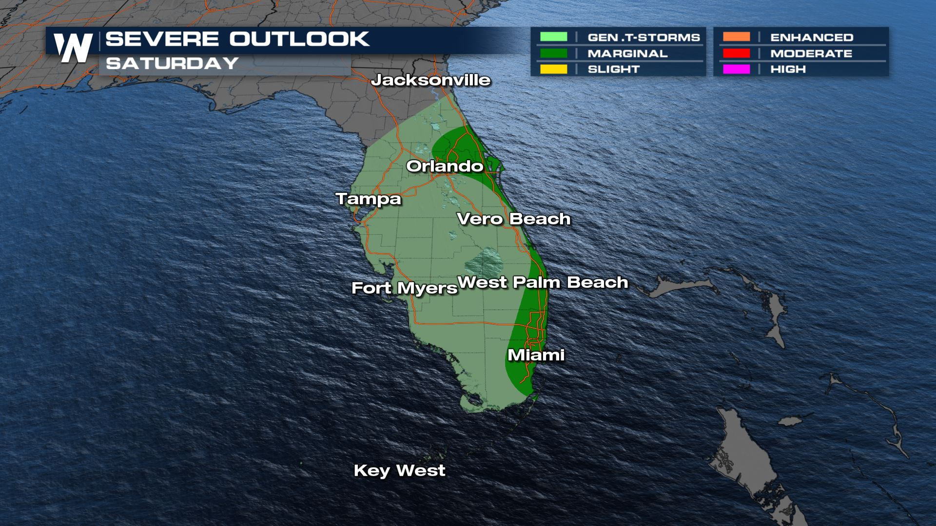Isolated Severe Storms Possible in Florida Saturday