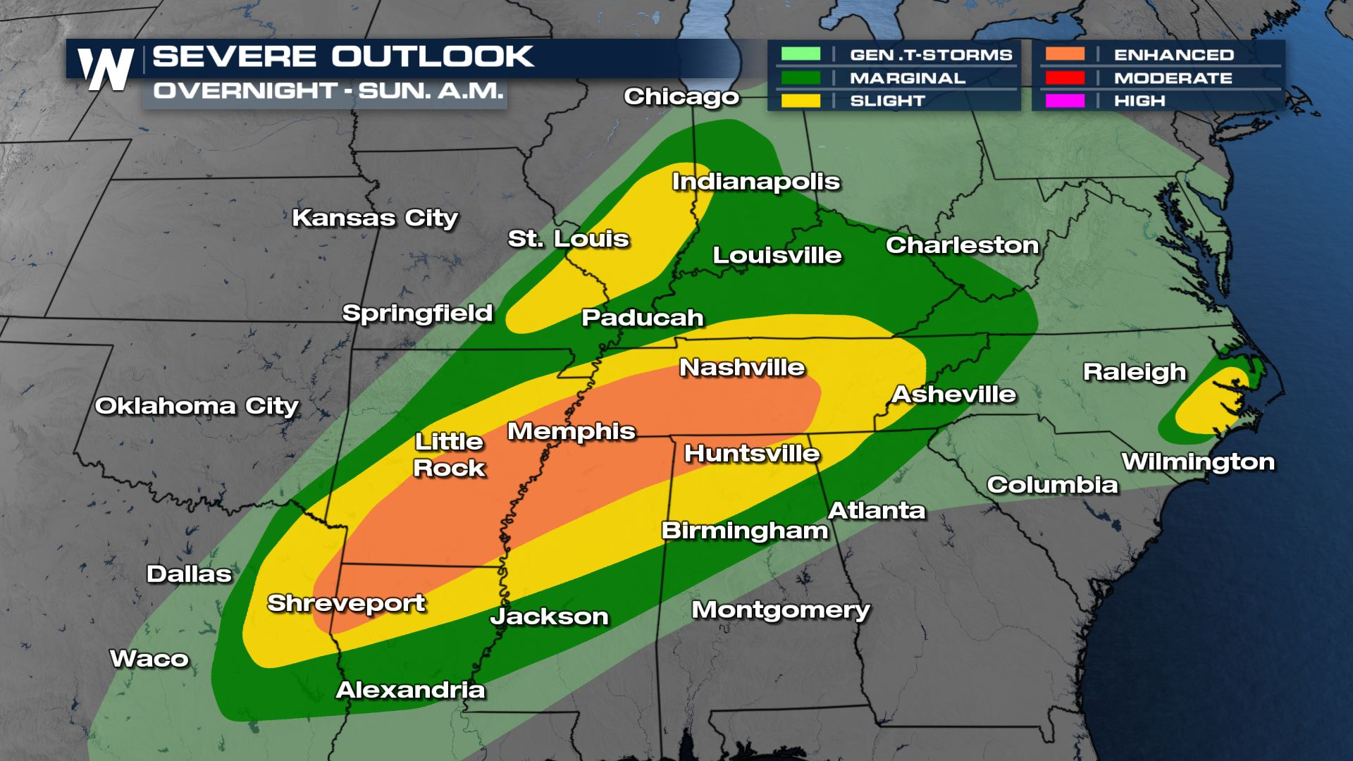 Severe Storms Continue Overnight, Into Sunday