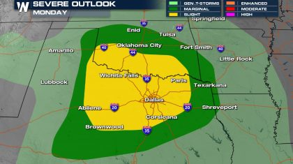Severe Storms for Texas and Oklahoma Into This Evening