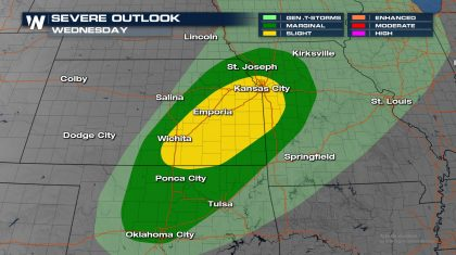Severe Storm Risk Increasing for Oklahoma and Kansas Wednesday