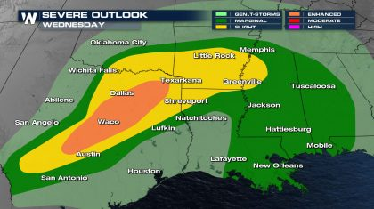 Severe Risk Increases in the Southern Plains and Arklatex