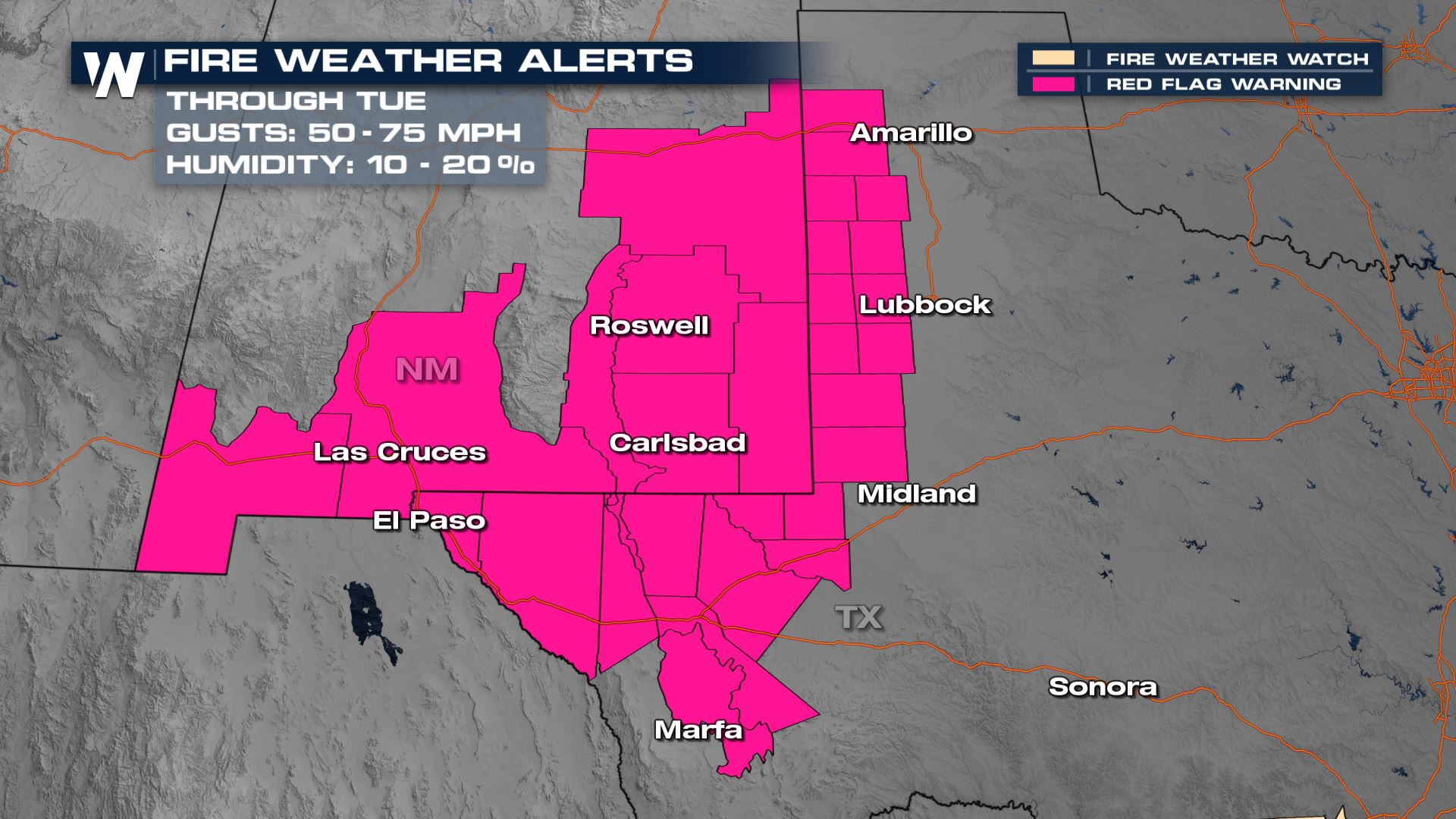 High Fire Danger for the Southwest Tuesday