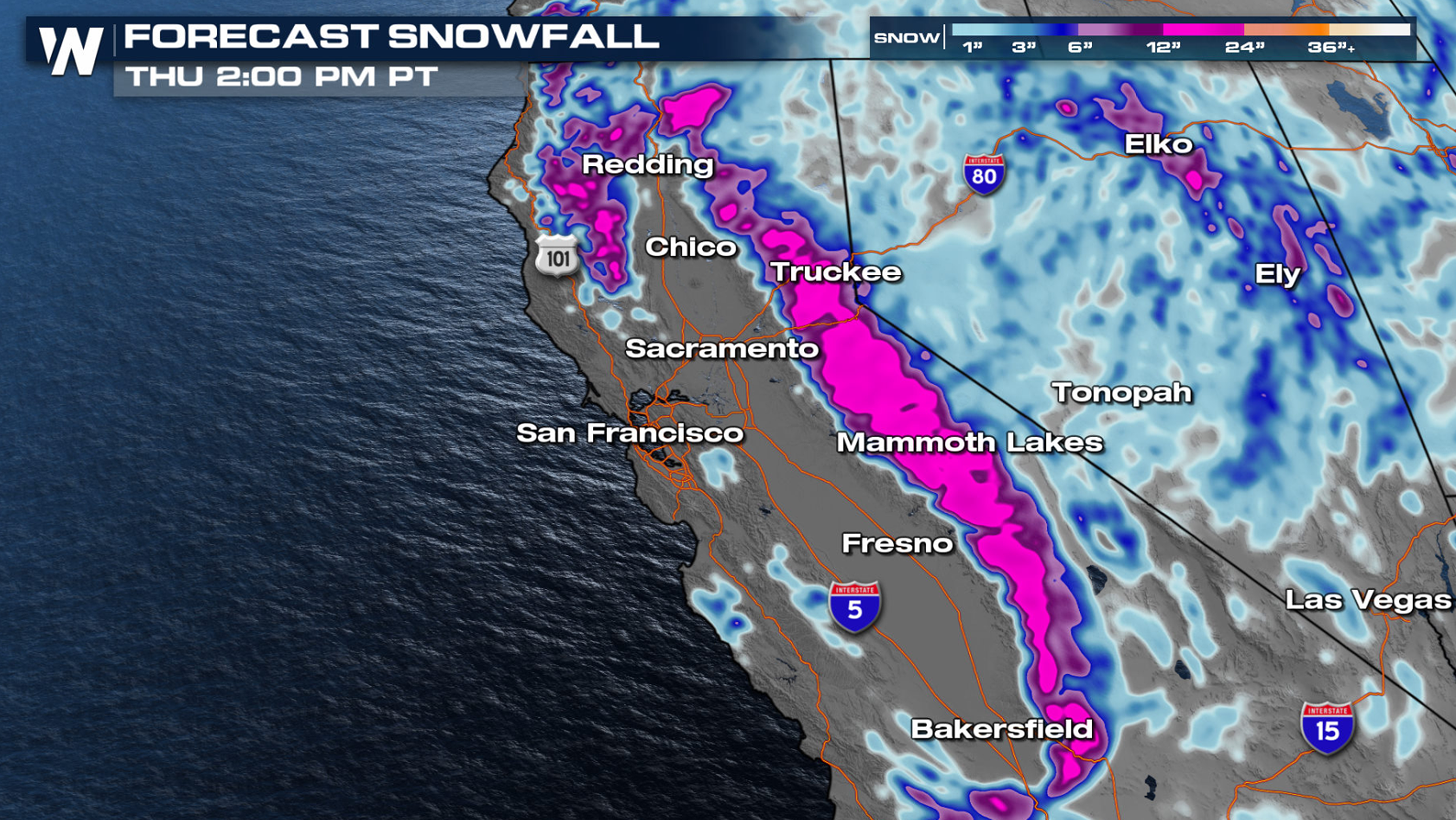 Rain and Snow Continues in California & the Southwest