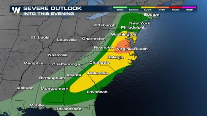 Severe Weather to Impact the Mid-Atlantic Sunday