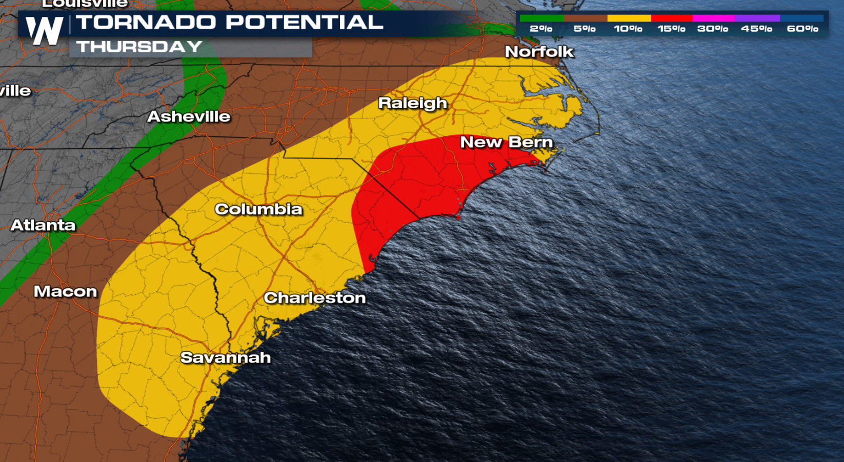 Carolinas Severe Weather Threat Thursday