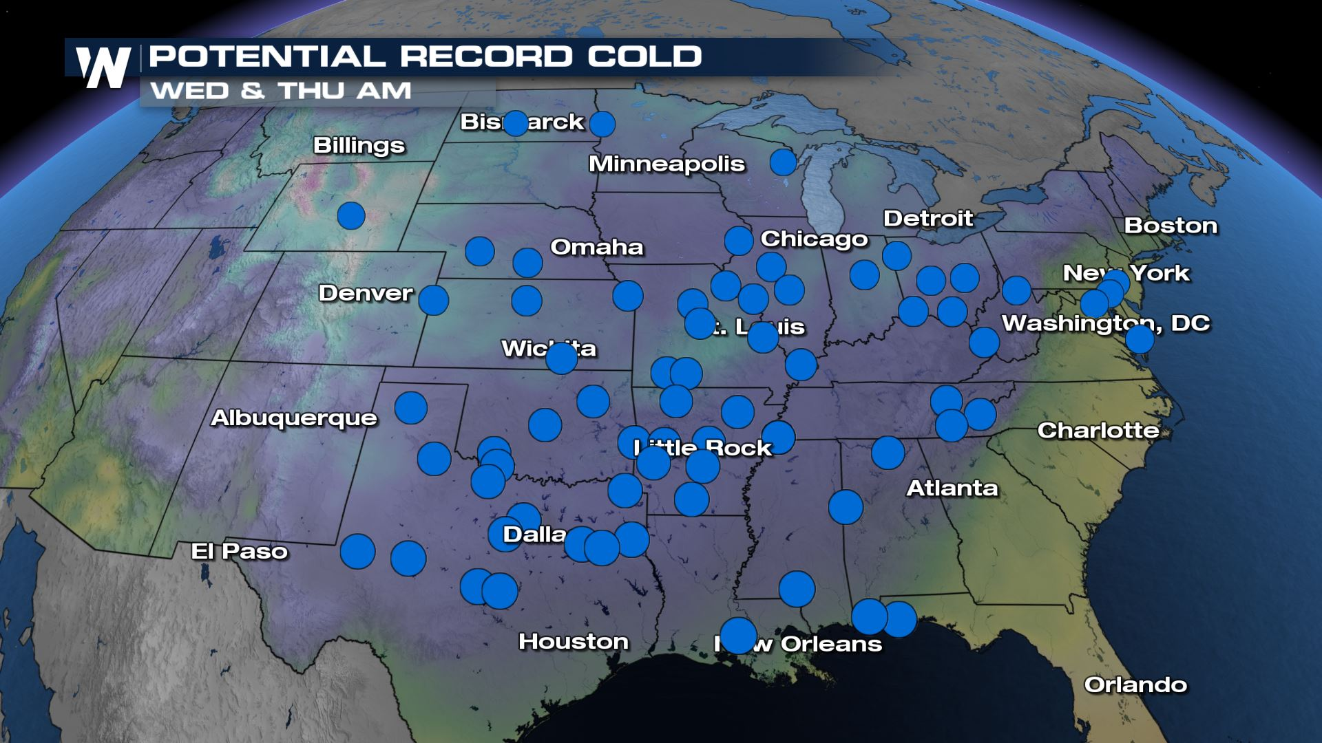 Possible Record Cold Drops in for the Central U.S.