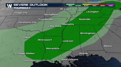 Severe Threat Continues across the Southern Plains and Midsouth