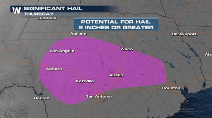Severe Hail Potential for Central Texas Thursday