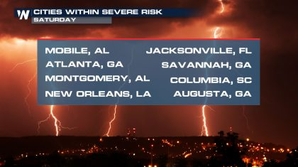 City-By-City Saturday Severe Forecast