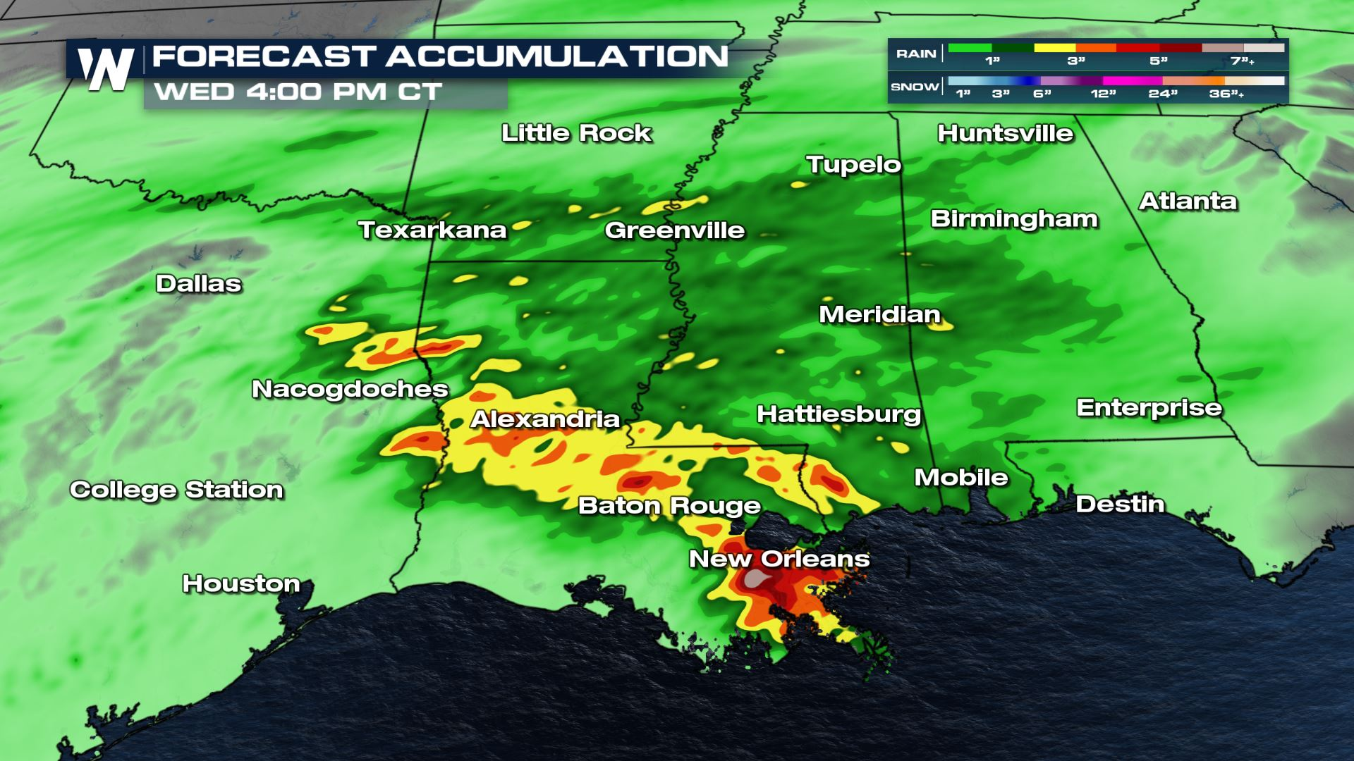 Heavy Rain and Flooding Potential for the Gulf Coast This Week