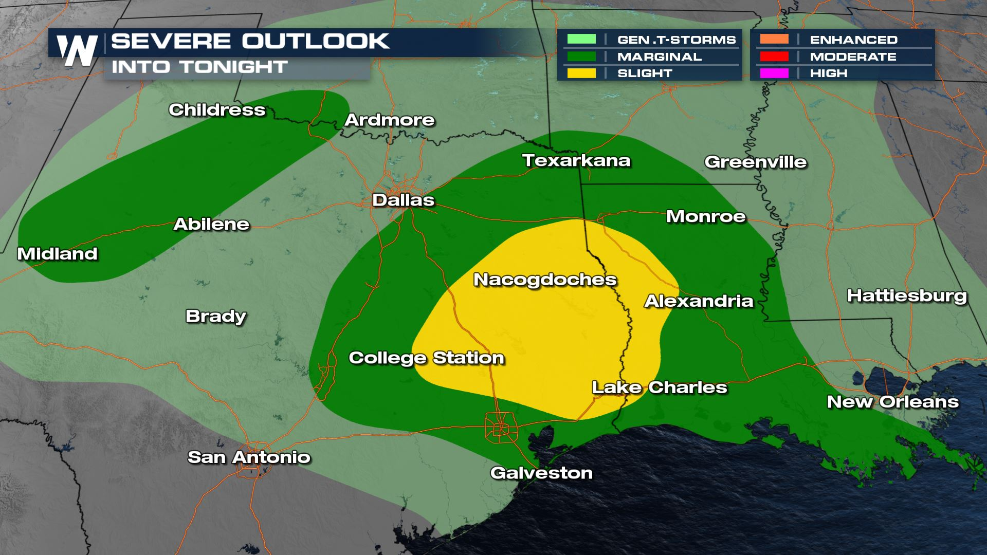 Severe Storms Tuesday and Wednesday from Texas to Louisiana