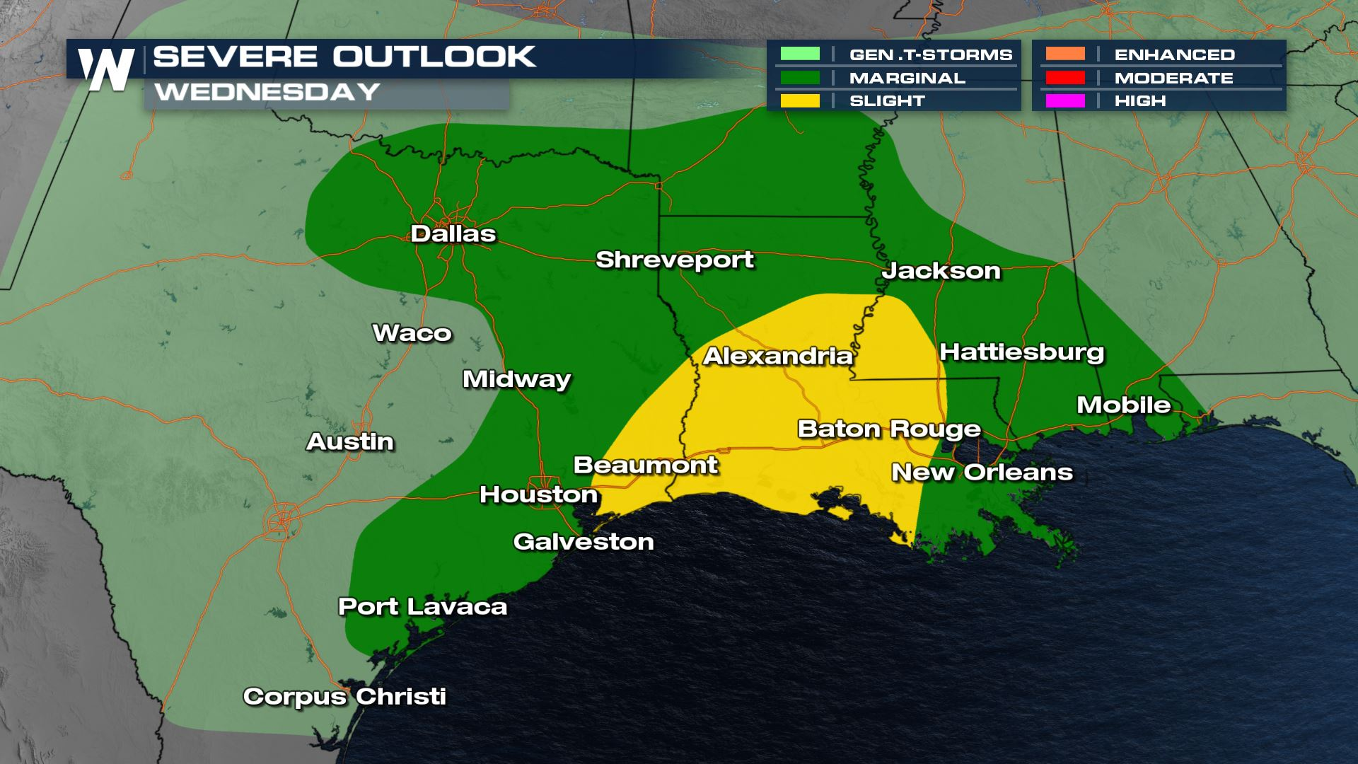 Severe Storm Chances Continue Wednesday from Oklahoma through the Gulf Coast