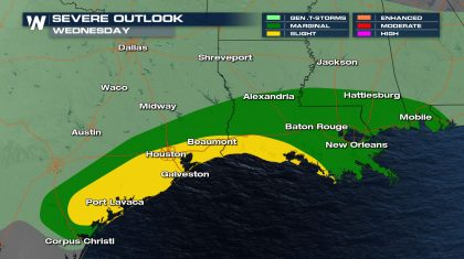 Severe Storm Chances Continue Wednesday for Gulf Coast