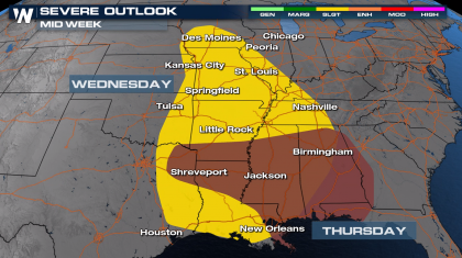 Deep South Severe Storm Outlook Mid Week