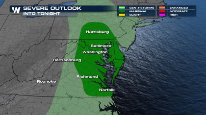 Severe Storms Possible Over the Mid-Atlantic Sunday