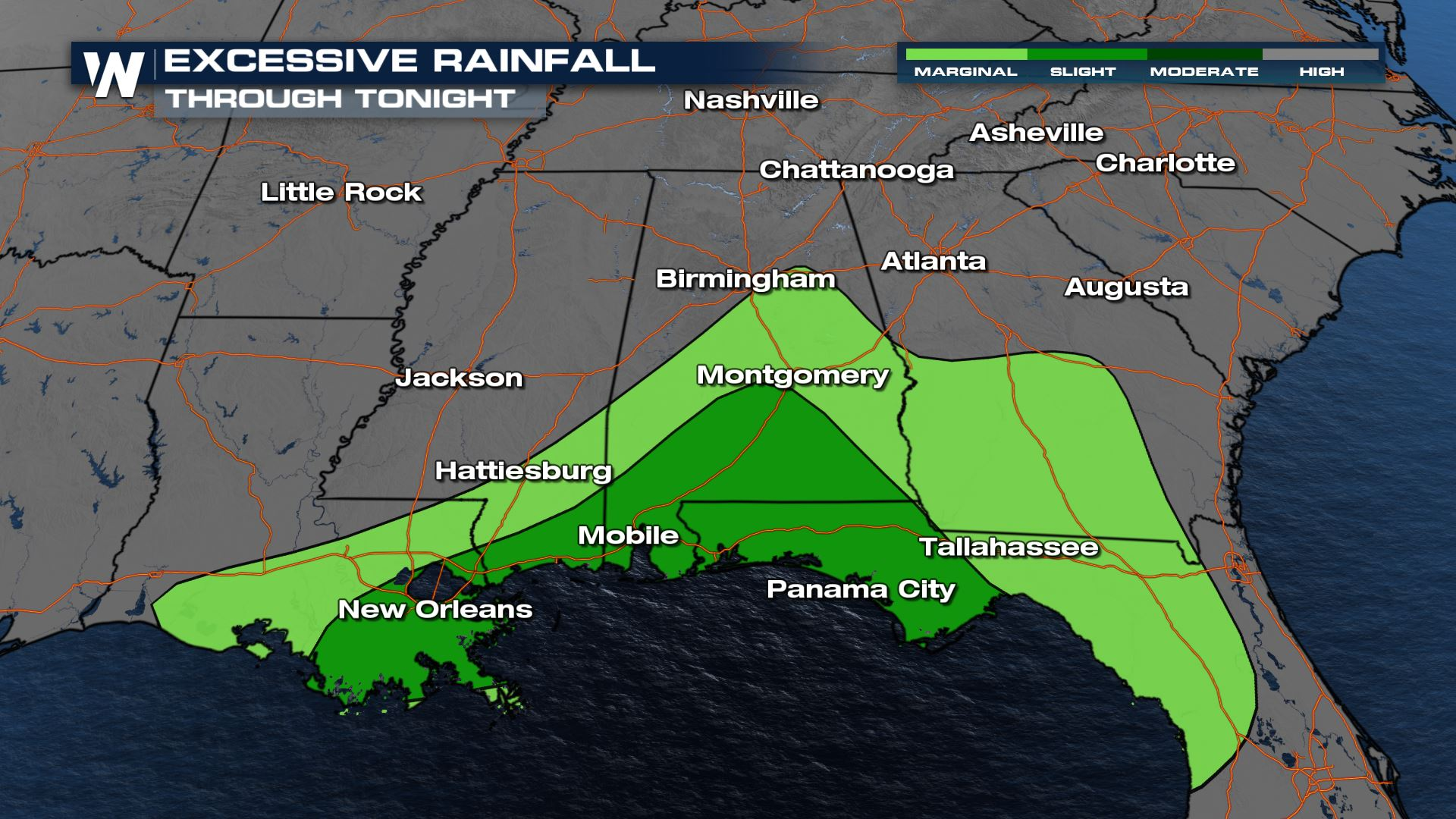 Flash Flood Threat Continues in the Southeast Through Sunday