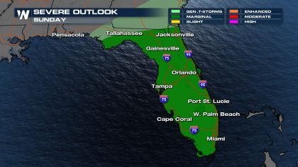 Severe Weather Risk Continues in Florida Sunday