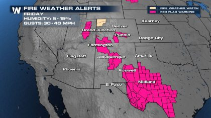 High Fire Danger Continues in the Southwest and High Plains