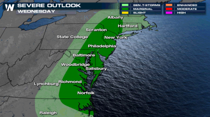 Mid Atlantic Severe Weather Threat Wednesday