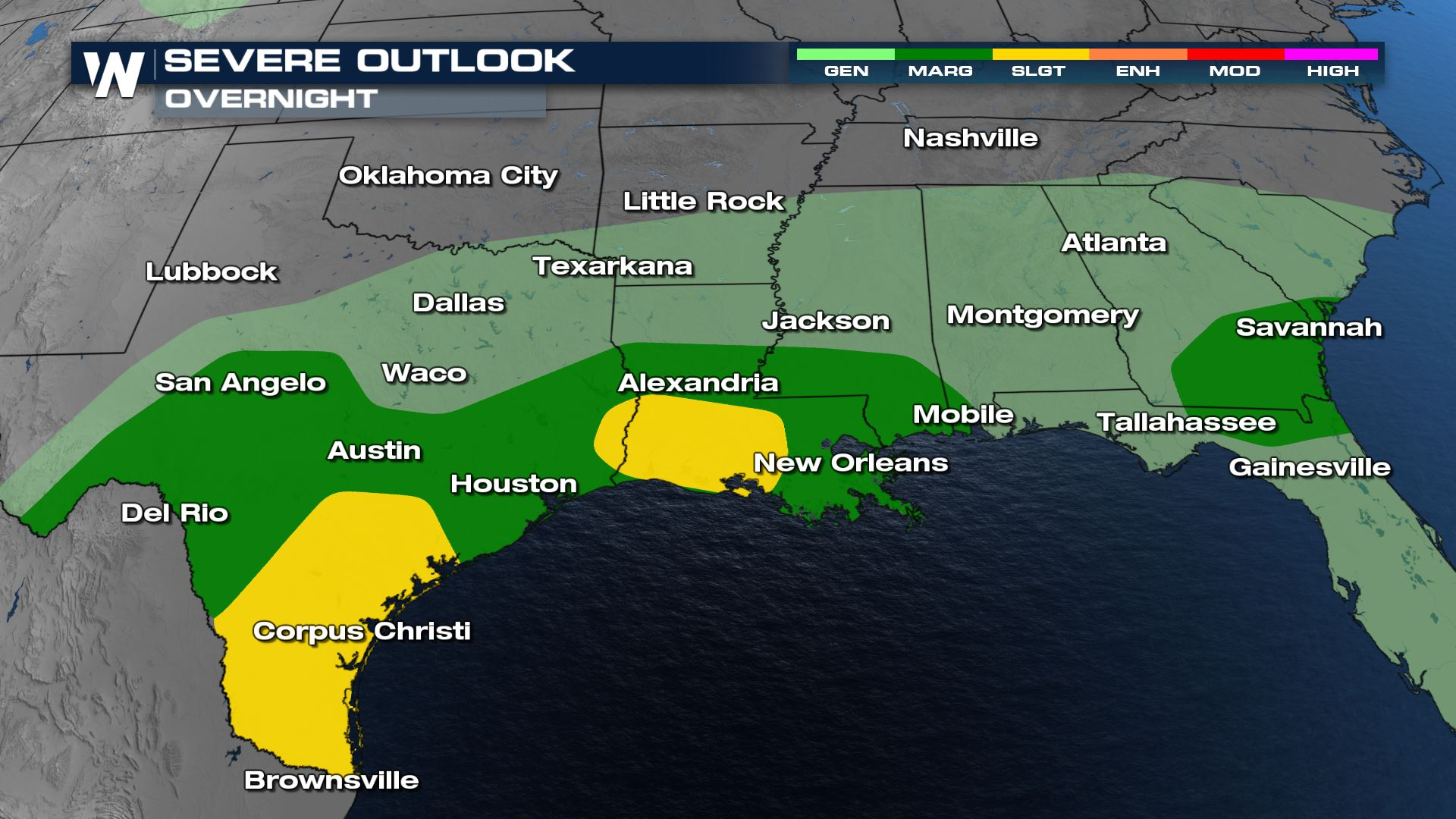 Overnight Storm Outlook For The Gulf States