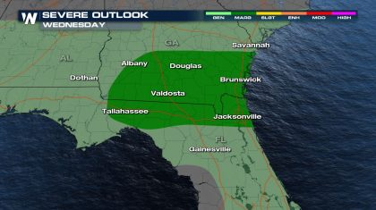Severe Weather Threat Wednesday in Florida and Georgia