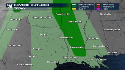 Isolated Severe Storms Thursday in the Deep South