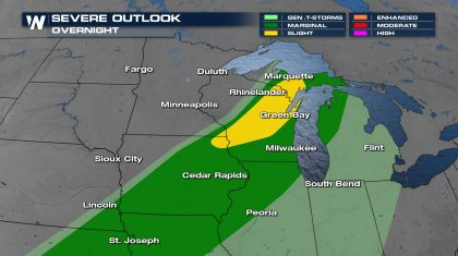 Severe Storms Still Possible Overnight in the Upper Midwest