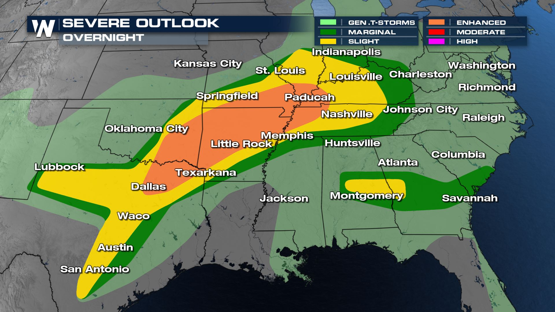 Severe Storms From the Midwest to the South Overnight