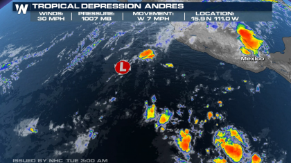 Andres Now a Tropical Depression