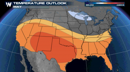 May Outlook: Warmth Favored South, Wetter East