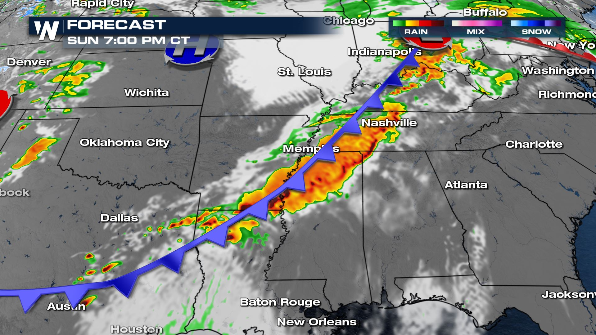 Severe Weather Centers on the Mid-South Sunday