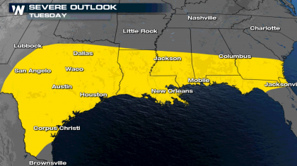 Tuesday Severe Potential along the Gulf Coast