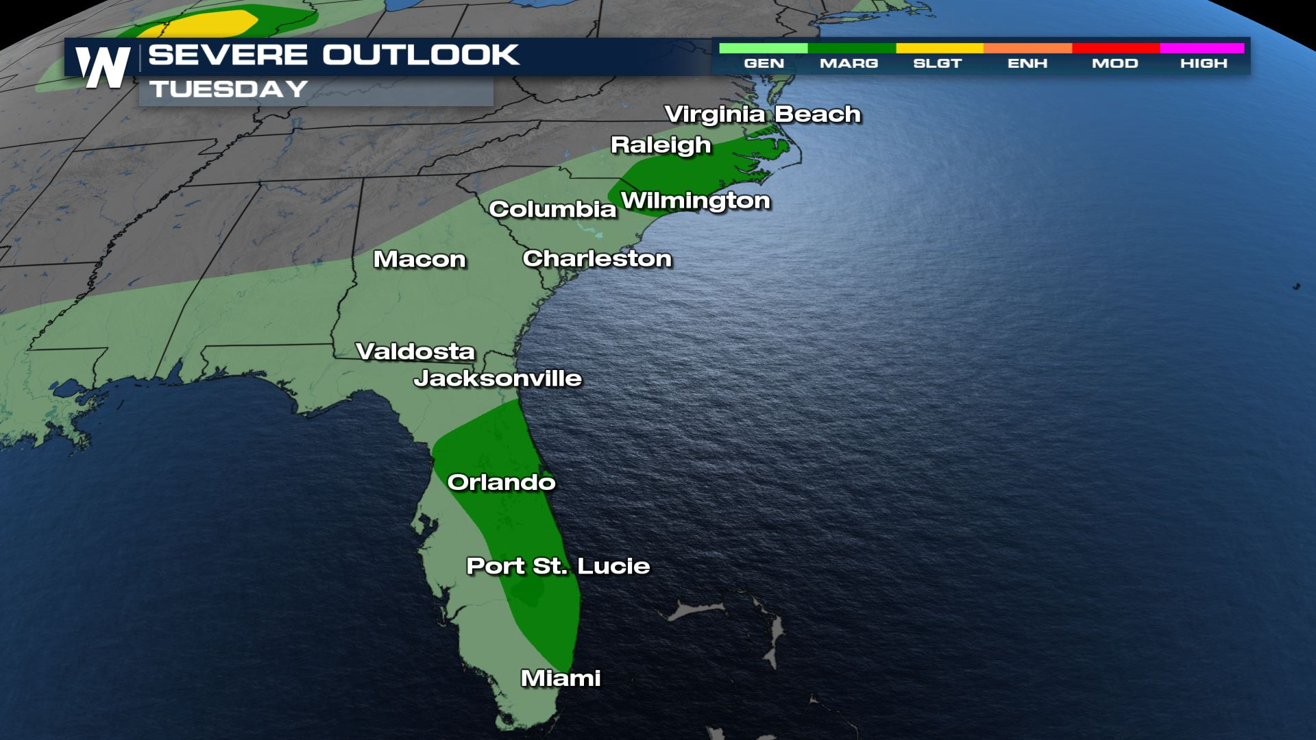 Isolated Severe Storms from the Mid-Atlantic to the Florida Tuesday