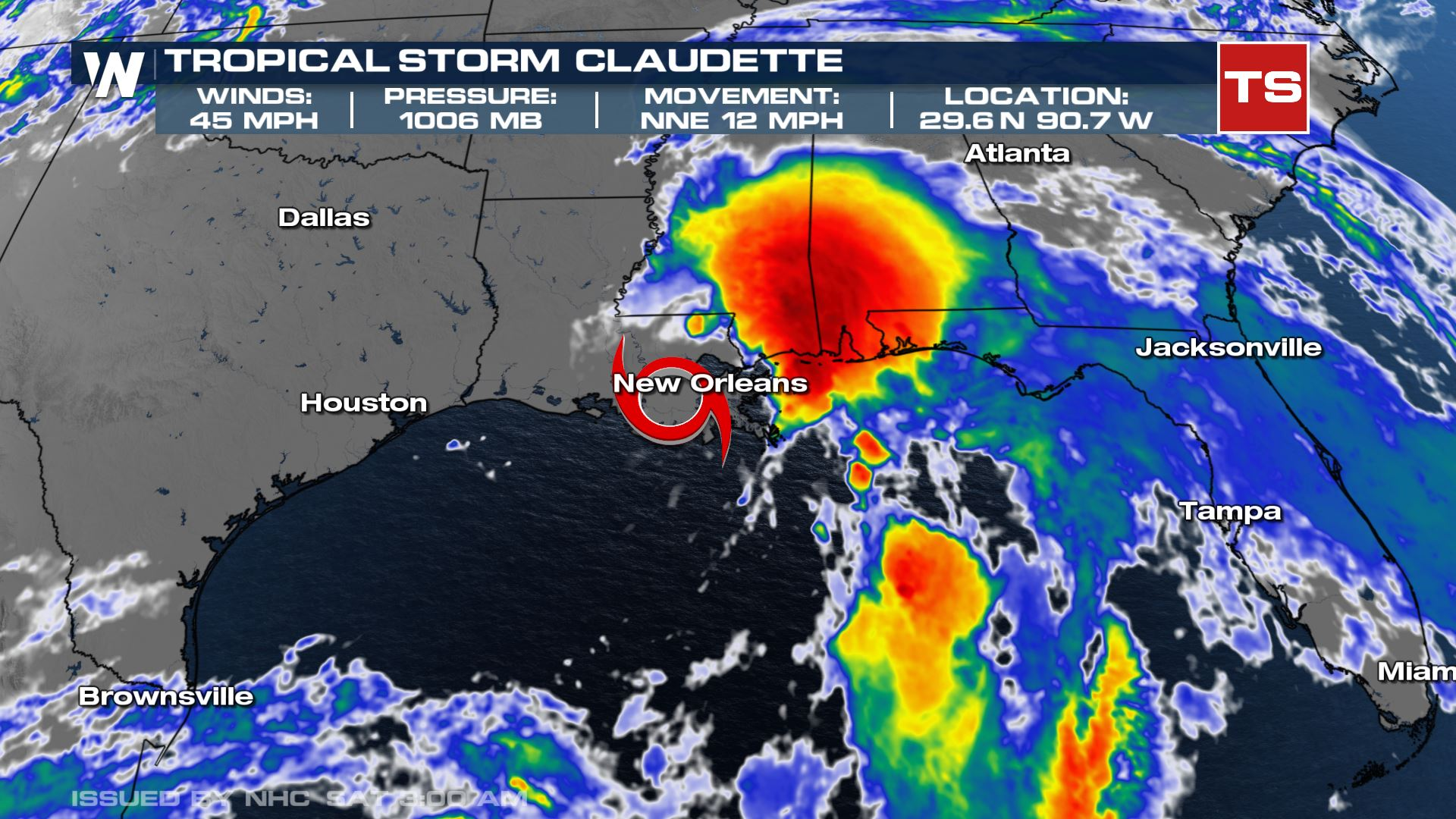 Tropical Storm Claudette Officially Formed Early Saturday Morning