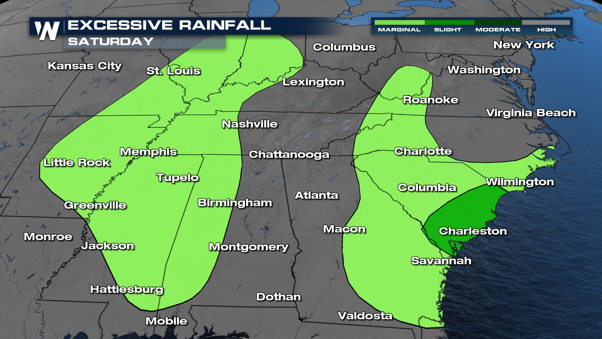 Isolated Flooding and Severe Storms This Weekend in the South
