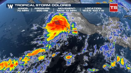 Dolores Makes Landfall in Mexico as Strong Tropical Storm