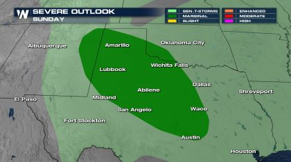 Sunday Severe Storm Chances in Texas