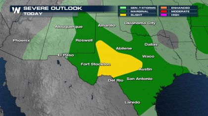 Severe Risk from New Mexico through Texas Tonight