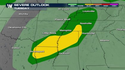 Severe Risk from the Mississippi Valley to the Ohio Valley Tuesday