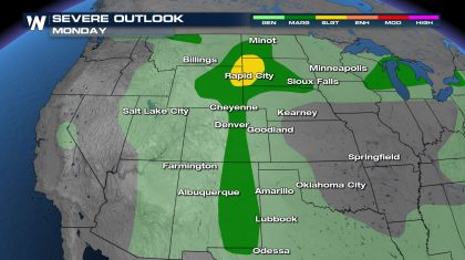 Severe Risk Monday from the Northern Great Plains to the Southern High Plains
