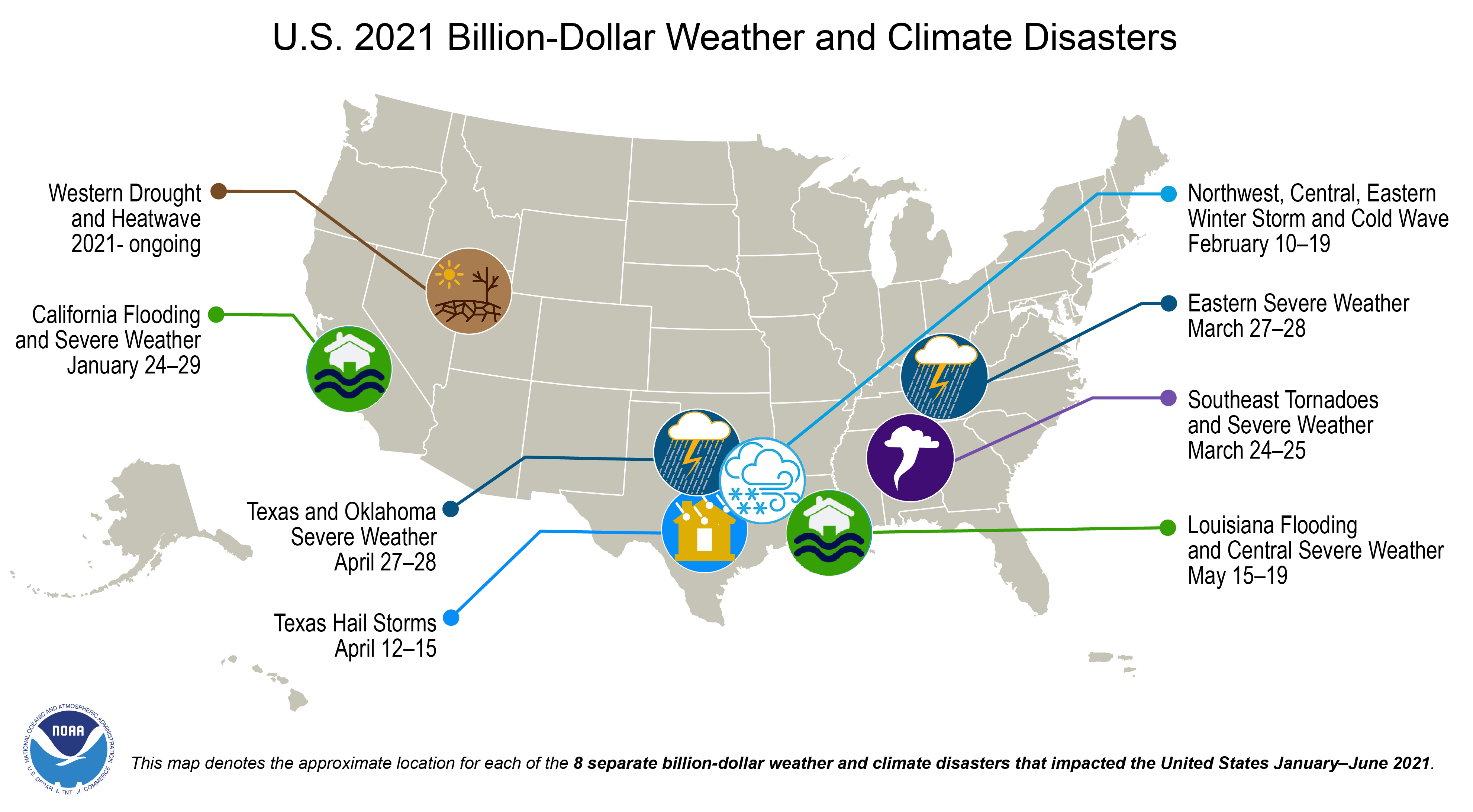Eight Billion Dollar Disasters in the First Half of 2021