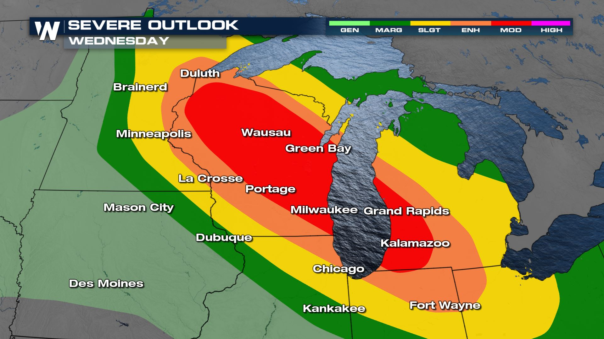Major Damaging Wind Event Possible Across the Great Lakes Tonight