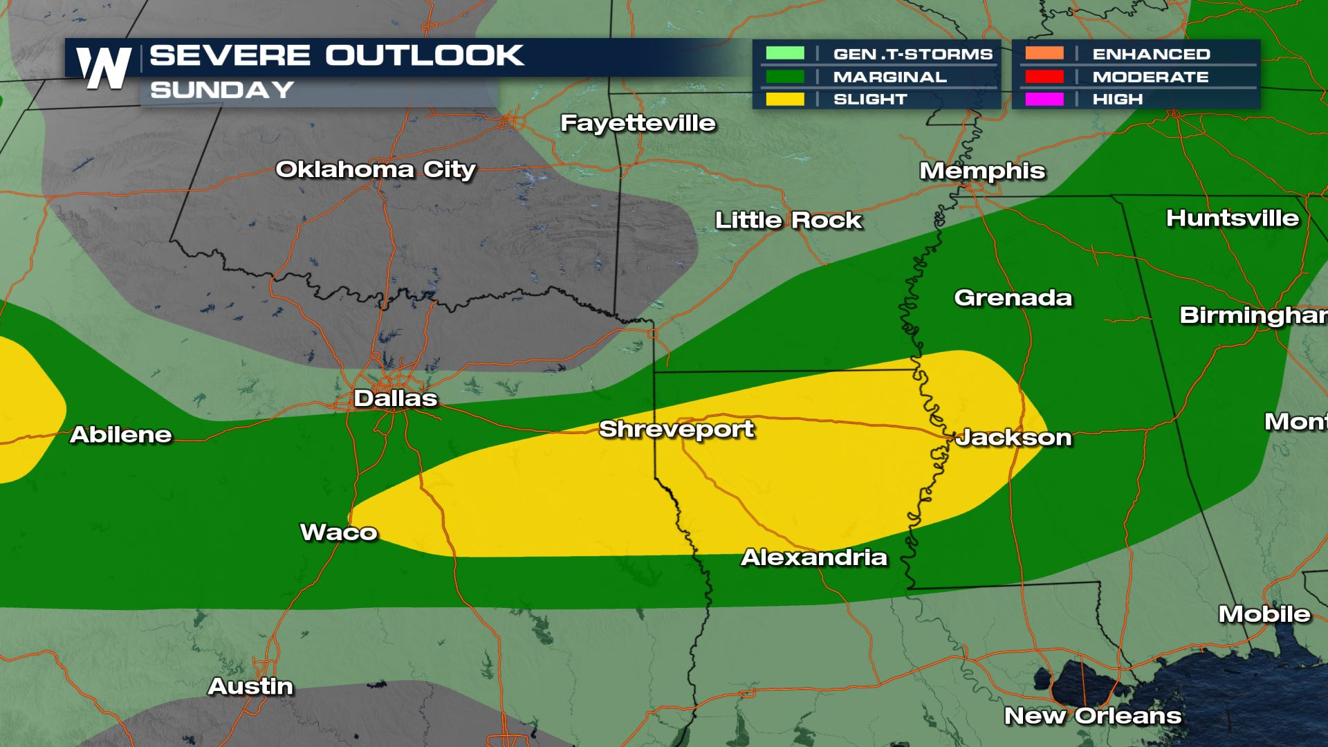 Sunday Severe Risk from Texas to the Mississippi Valley