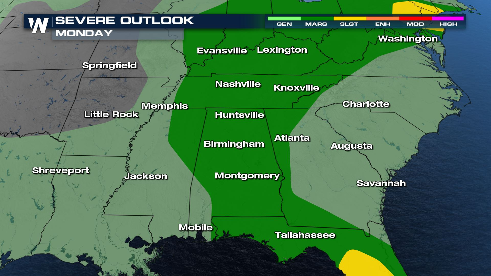 Isolated Strong Storms and Heavy Rain for the Mid-South and Gulf Coast